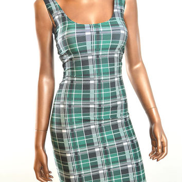 Green, Black & White Tartan Plaid Print Sleeveless  Lycra Spandex Bodycon Tank  Dress   -E7258