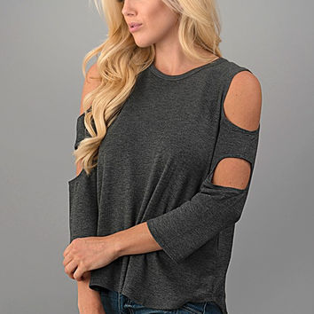Peek a Boo Top - Charcoal