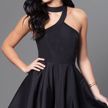 Sleeveless Racer-Back Fit-and-Flare Short Dress