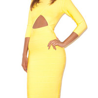 Yellow Cut Out Long Sleeve Bandage Dress