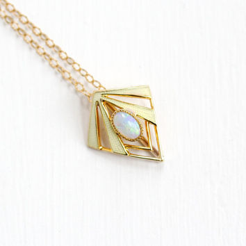 Antique 10k Rose Gold Opal & Yellow Guilloche Enamel Pendant Necklace - Art Deco 1920s Fine Geometric Open Metal Dainty Fine Jewelry