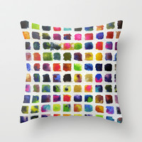 Watercolor Squares Throw Pillow by dani