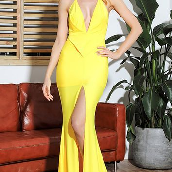 Playing Our Song Yellow Sleeveless Spaghetti Strap Halter Backless Plunge V Neck Ruched Front Slit Mermaid Maxi Dress