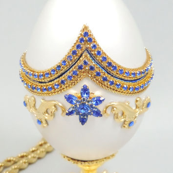 Stunning Sapphire and White Jewelry Box w Sapphire Jeweled Star Centerpiece Engagement Ring Box Faberge Style Decorated Goose Egg Art