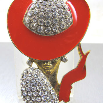 Vintage Art Deco Style Brooch Woman Rhinestone Red Enamel Hat Dress Figural Wearable Art Fashionista 3""