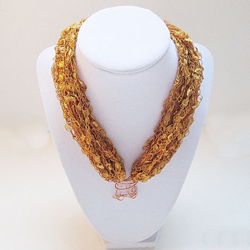 Ladder Yarn Necklace, Trellis Yarn Necklace, Copper Pendant, Gold Ribbon Yarn Necklace, Ribbon Necklace, Crocheted Necklace