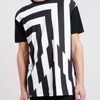BLACK GLITCH STRIPE SKATER FIT T-SHIRT - New This Week - New In