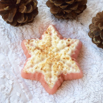 Christmas soap Snowflake soap Holiday soap stocking stuffer Baby Christmas favors Winter soap Handmade soap Cinnamon fruit soap Holiday gift