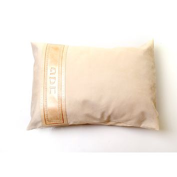 Pesach Pillow Cover With Leather Stripe - Beige