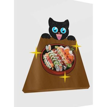 Anime Cat Loves Sushi Gloss Poster Print Portrait - Choose Size by TooLoud