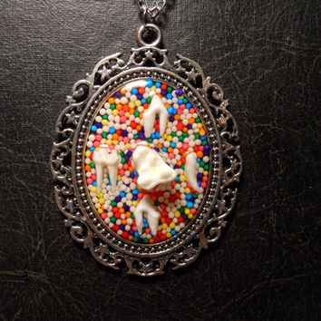 HUGE Sweet Tooth Real Raccoon Tooth Candy Cameo Necklace