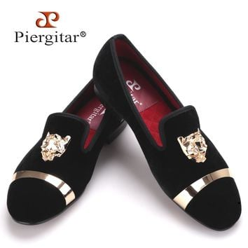 Piergitar Handmade Velvet Loafers for Men