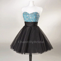 Princess Strapless Sweetheart-neck Blue Bodice Black Tulle Skirt Crystal Beaded Cocktail Dresses/Short Prom Dresses