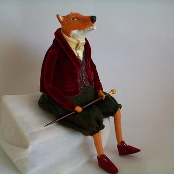 Mr. Fox, Art doll, OOAK Handmade Doll, Interior Art Doll