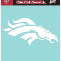 Denver Broncos Decal 8x8 Die Cut White