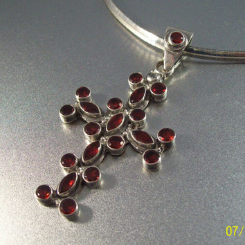 Vintage Sterling Garnet Necklace Maltese Cross Enhancer Pendant Open Bezel 40 grams