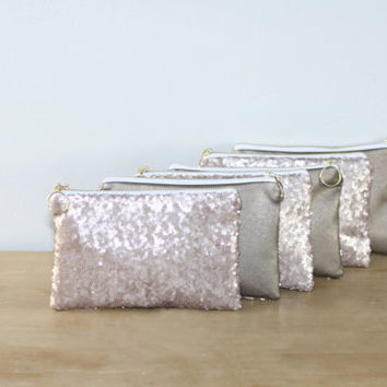 Champagne Sequins Bridesmaid Gift Set / Bachelorette Party Favors - Nude Sequins Cosmetic Clutch with Dark Gold Leather - Choose Quanitity