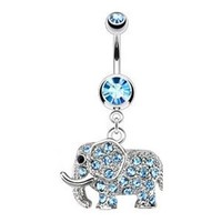 Aqua Gem Dangling Elephant Belly Button Ring