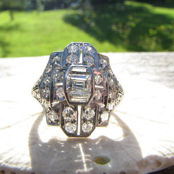 Dramatic Edwardian to Art Deco Platinum Diamond Ring - Emerald Cut Diamond with Diamond Baguettes and Round Cuts - approx 1.30 carats plus