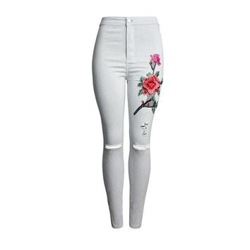New 2017 Women's Vintage Embroider Flowers jeans Ripped Pencil Stretch Denim Pants Female Skinny Trousers high waist Jeans 2112