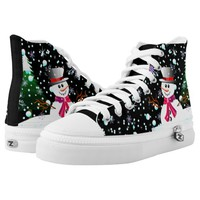 "Modern Snowman ""Merry Christmas"" party High-Top Sneakers"