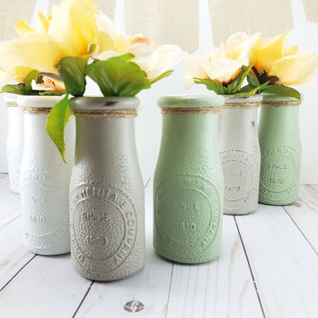 Shabby Chic Wedding Decorations - Wedding Vases - Bud Vase - Bridal Shower Decorations - Reception Decor - Single Flower Vase - Milk Bottles
