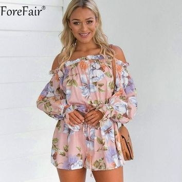 CREYCI7 ForeFair Summer Sexy Off Shoulder Floral Print Playsuit Plus Size Slash Neck Long Lantern Sleeve Ruffles Rompers Women Jumpsuit