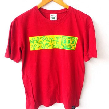 25% SALE Keith Haring Vintage 90's Dancing Pop Art Graffiti Street Andy Warhol Palladium Museum Red T shirt Size S
