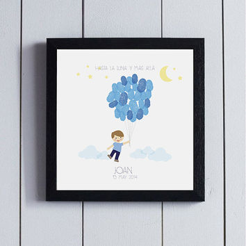 Baby Shower Guest Book birthday guestbook fingerprint tree / printable pdf / Its a boy Babyshower ideas family children party welcome birth