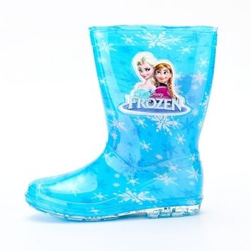 2018 new Disney princess frozen children rain boots rubber shoes cartoon men and women PVC girls  water shoes size 26-31