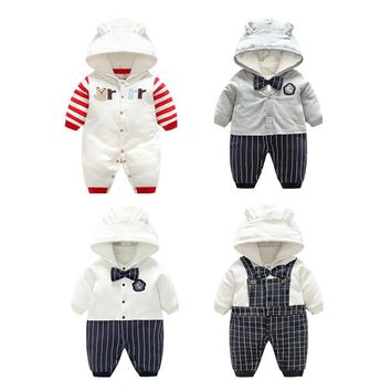 Gentleman Baby Winter Rompers Hooded Penguin Romper Child Boys Girls Warm Clothes Sling Kids Jumpsuit Baby clothes set With Hat