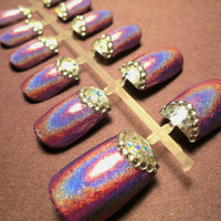 Purple Holographic Half-Moon Fake Nails