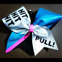 "Hit, Hit, Hit Pull with SIlver, Teal and Hot Pink on 3"" Black Grosgrain - Cheer Bow"