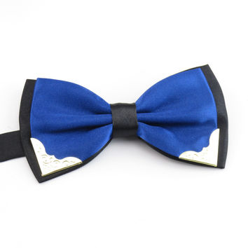 Mantieqingway Candy Color Bow Ties for Men Wedding Formal Wear Business Suits Blue Bowtie Neck Tie Solid Color Polyester Bow Tie