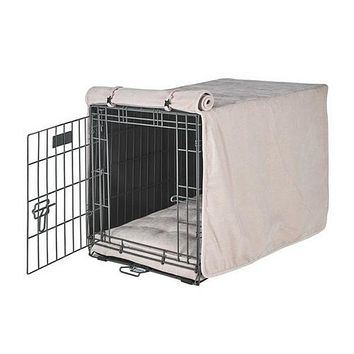 MicroVelvet Luxury Dog Crate Cover — Blush