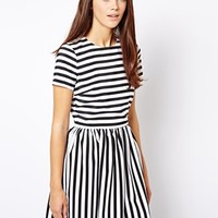 River Island Mono Stripe Skater Dress