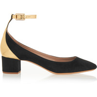 Chloé - Suede and mirrored-leather pumps