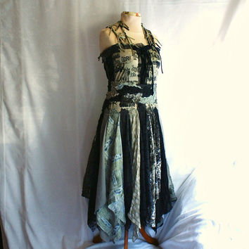 Fairy Tattered Dress Upcycled Woman's Clothing Romantic by cutrag