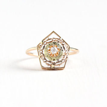 Antique Edwardian 10k Rose Yellow Gold Diamond Stick Pin Conversion Ring - Size 6 Vintage Filigree Target Buttercup Flower Ring Fine Jewelry