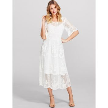 White Floral Print Lace Overlay 2 In 1 Dress