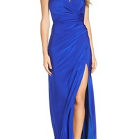 La Femme Strappy Wrap Gown | Nordstrom