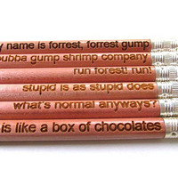 Laser Engraved Pencils - Set of Six - Forrest Gump Set