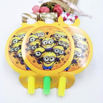 6pcs/set Minions Cartoon Babyshower Funny Whistles Children Birthday Party Supplies Blowout Baby Birthday Party Supplies Set