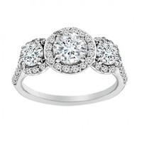 1 3/4ct tw Diamond Three Stone Engagement Ring in 14K White Gold - Diamond Rings - Jewelry & Gifts