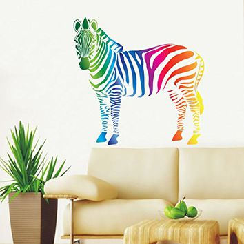 Zebra Wall Decals Full Color Safari Decal Colorful African Safari Animals  Africa Kids