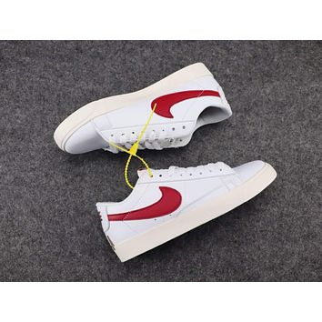 Nike BLAZER LOW Fashion Women Men Casual Sport Running Shoe Sneakers White(Red Hook) I-CSXY
