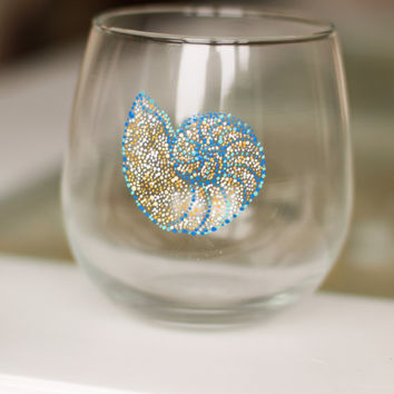 Nautilus Wine Glass: Mosaic Stemless Wine Glasses/ Tumblers