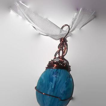 Unique Faceted Electric Blue Cabochon Copper Color Wire Wrapped Pendant with White Ribbon Necklace Free Shipping