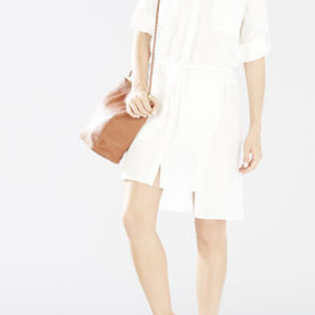 White BCBG Daya Rolled-Sleeve Shirt Dress