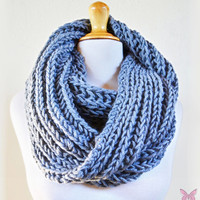 GREY infinity scarf / cowl -- wool blend, chunky, fashion accessories, gray, chunky, scarves